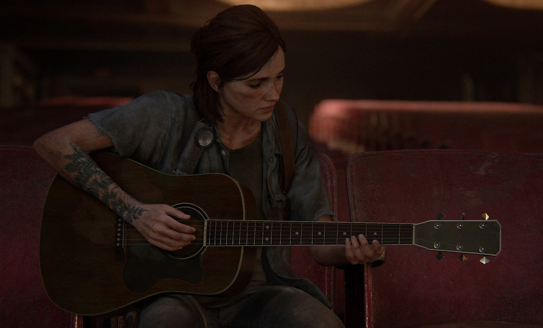 Ellie playing guitar from The Last of Us Part II